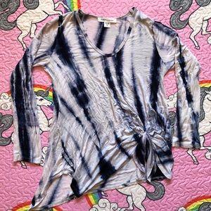 Karen Kane Tie Dye Rayon Tie Front Shirt